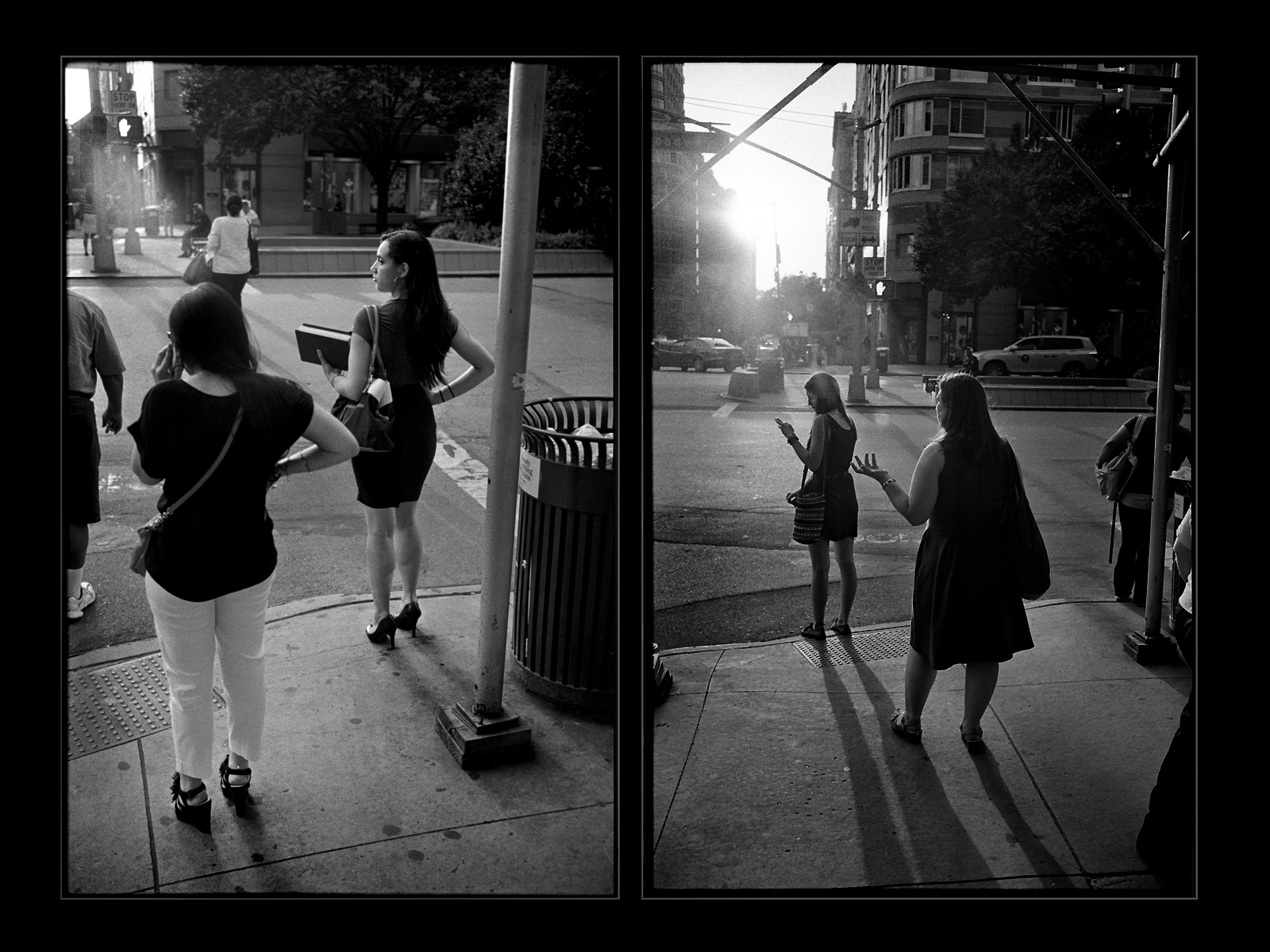 86 Sunset Diptych 2013 Black And White Street