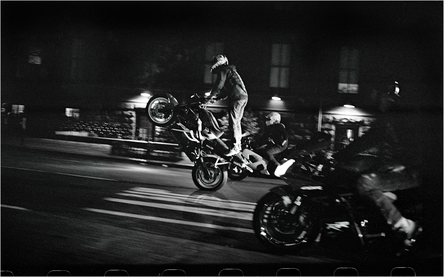 Motorcycle Wheelie 2013 Copy Black And White Street