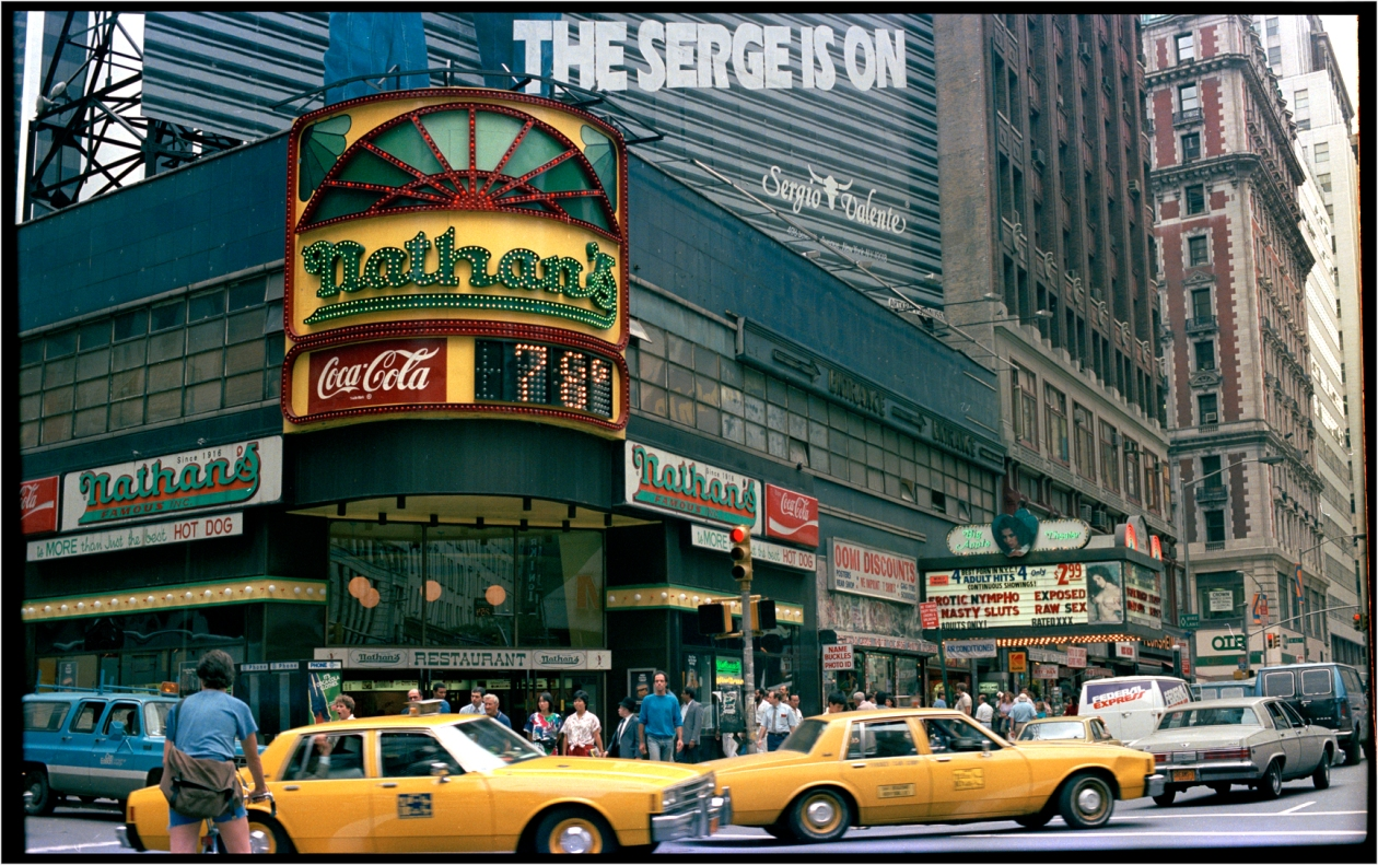 """Used Cars Nyc >> """"Nathan's Times Square 1985 – Black and White Street Photographs of New York City by Matt Weber"""